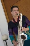 Jogo do saxofone Fotos de Stock