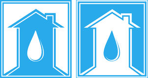 Jogo do sinal com gota e casa da água Fotografia de Stock Royalty Free