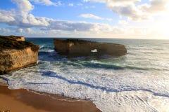 Jogo do sol do oceano Fotografia de Stock