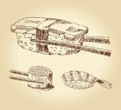 Jogo do sushi desenhado mão ilustração do vetor