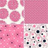 Jogo do teste padrão quatro floral abstrato sem emenda Imagens de Stock Royalty Free
