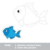 Jogo do traço para crianças Um peixe dos desenhos animados a ser Fotografia de Stock Royalty Free