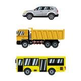 Jogo do transporte Carros e transporte da cidade Ilustração do vetor Fotografia de Stock Royalty Free
