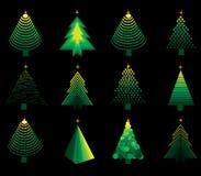 Jogo do treesset do Natal do vetor Imagem de Stock Royalty Free