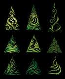 Jogo do vetor de árvores de Natal decorativas Fotos de Stock Royalty Free