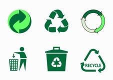Jogo do vetor de ícones ecológicos verdes Imagens de Stock Royalty Free