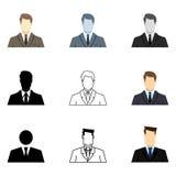 Jogo do vetor de ícones do homem de negócios ilustração stock