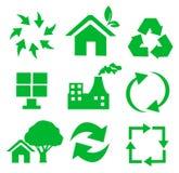Jogo do vetor de ambiental/de recicl ícones ilustração royalty free