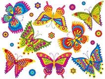 Jogo do vetor de borboletas coloridas Foto de Stock