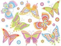 Jogo do vetor de borboletas coloridas Foto de Stock Royalty Free