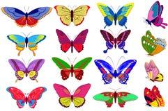Jogo do vetor de borboletas coloridas Fotografia de Stock