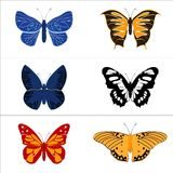 Jogo do vetor de borboletas coloridas. Fotografia de Stock Royalty Free