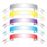 Jogo do vetor de cinco bandeiras da cor Fotos de Stock Royalty Free