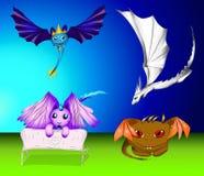 Jogo do vetor de dragões e de monstro dos desenhos animados Ilustração Royalty Free