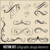 Jogo do vetor de elementos do projeto e do pag caligráficos Fotografia de Stock Royalty Free