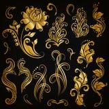 Jogo do vetor de elementos florais Foto de Stock Royalty Free