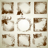 Jogo do vetor de frames do grunge do vintage Imagem de Stock Royalty Free