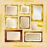 Jogo do vetor de frames do ouro Imagens de Stock Royalty Free