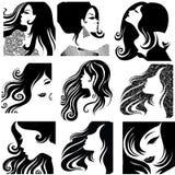 Jogo do vetor de retratos do close up da mulher bonita Fotografia de Stock Royalty Free