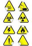 Jogo do vetor de sinais de aviso químicos em etiquetas. Fotos de Stock Royalty Free