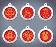 Jogo do vetor do bordado com as esferas do ano novo Ilustração Royalty Free
