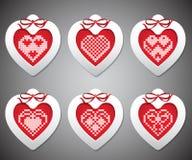 Jogo do vetor do bordado com corações do ano novo ilustração royalty free