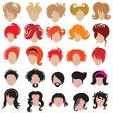 Jogo do vetor do cabelo na moda que denomina ícones Foto de Stock