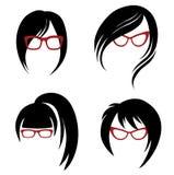 Jogo do vetor do cabelo na moda que denomina para a mulher Imagens de Stock