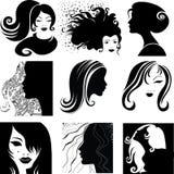 Jogo do vetor do close up - mulher bonita Fotos de Stock Royalty Free