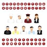 Jogo do vetor dos ícones dos povos do restaurante e dos ícones do mapa ilustração stock