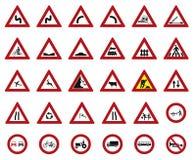 Jogo do vetor dos sinais de rua, 30 sinais Fotos de Stock