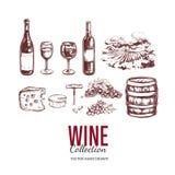 Jogo do vinho Elementos tirados mão 2 do vetor Fotografia de Stock Royalty Free