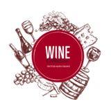 Jogo do vinho Elementos tirados mão 4 do vetor Imagens de Stock Royalty Free