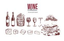 Jogo do vinho Elementos tirados mão 3 do vetor Fotografia de Stock Royalty Free