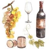 Jogo do vinho Produtos do Winemaking no estilo do esboço Ilustração da aquarela com tambor, vidro, galho da uva classical ilustração royalty free
