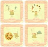 Jogo do vintage de projetos de cartão do menu com cozinheiros chefe Imagens de Stock