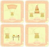 Jogo do vintage de projetos de cartão do menu dos miúdos com cozinheiros chefe Fotografia de Stock