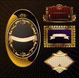 Jogo do vintage do vetor. O ouro molda a etiqueta ornamentado Imagens de Stock