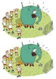 Jogo do Visual das diferenças do elefante do futebol Fotografia de Stock Royalty Free