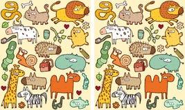 Jogo do Visual das diferenças dos animais ilustração do vetor