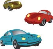 Jogo dos ícones com carros dos desenhos animados. Imagem de Stock