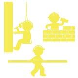 Jogo dos ícones Construtores no trabalho Fotografia de Stock