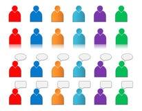 Jogo dos ícones do usuário coloridos Fotos de Stock Royalty Free