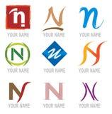 Jogo dos ícones e da letra N dos elementos do logotipo ilustração stock