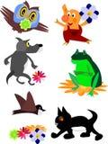 Jogo dos ícones e dos desenhos animados animais Imagem de Stock Royalty Free