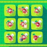Jogo dos ícones em uma cozinha do tema Cozinheiros engraçados - maçãs no estilo f Foto de Stock Royalty Free
