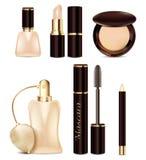 Jogo dos ícones Projeto dos cosméticos e dos perfumes em tons bege Produtos batom da propaganda, verniz para as unhas, pó, lápis, Imagem de Stock