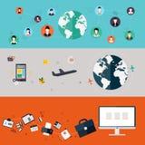 Jogo dos ícones Projeto liso Foto de Stock