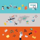 Jogo dos ícones Projeto liso PC dos telefones celulares, da tabuleta, Web e App Imagem de Stock