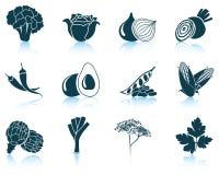 Jogo dos ícones vegetais Imagens de Stock